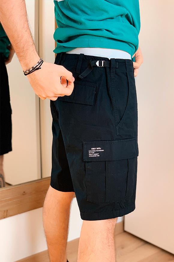 Obey - Black Recon cargo shorts
