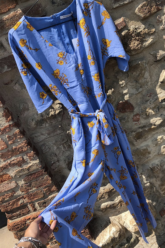 Glamorous - Long blue palace suit with yellow flowers