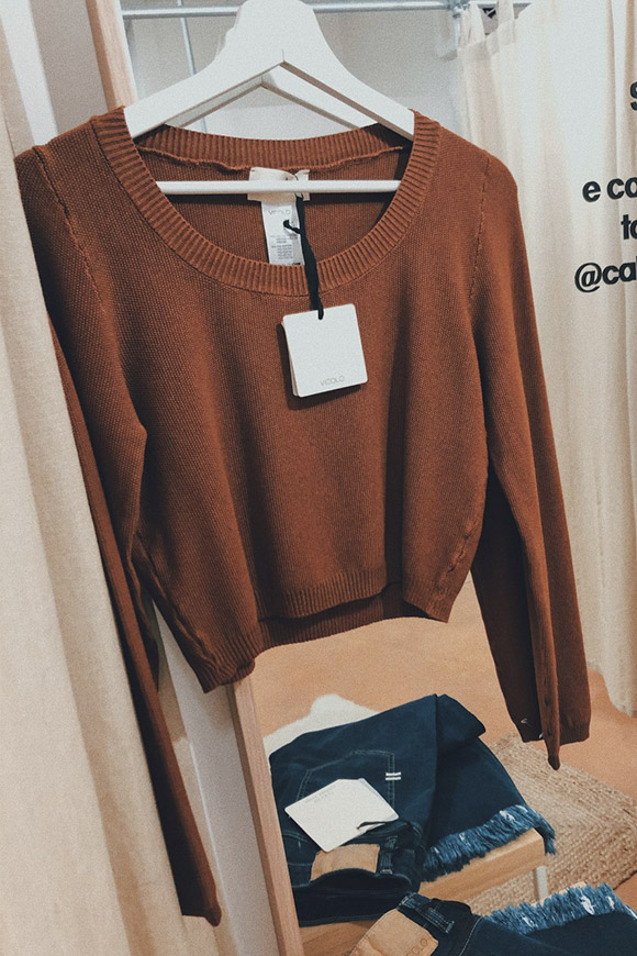 Vicolo - Short brown honeycomb sweater