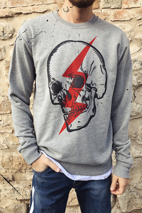 Gianni Lupo - Gray sweatshirt with skull and lightning print