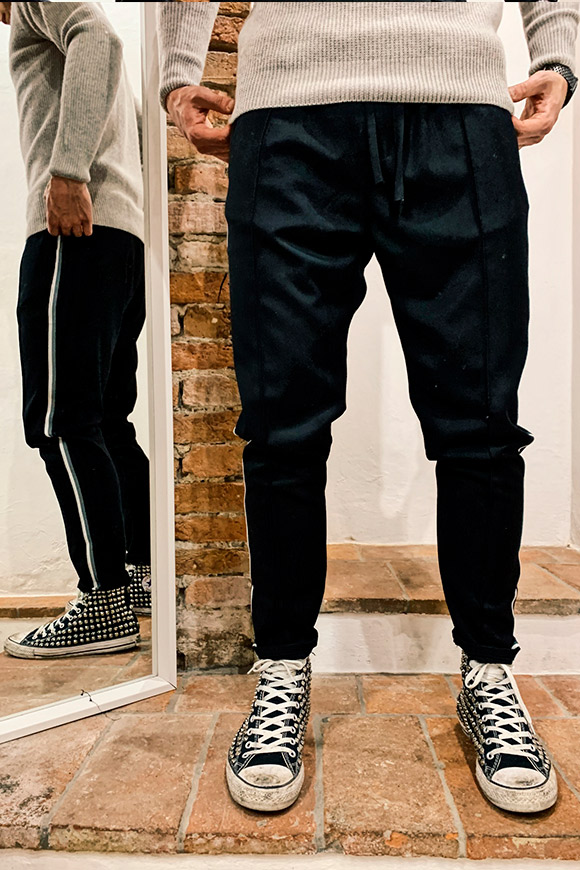 Gianni Lupo - Black trousers with side bands