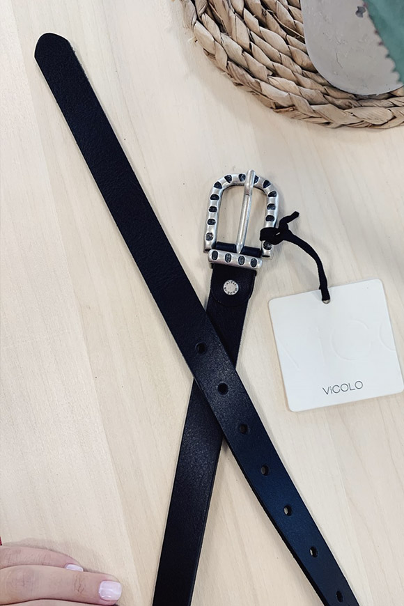 Vicolo - Black belt with steps buckle