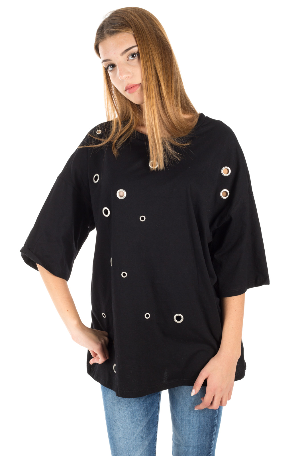 Glamorous - T-shirt over black with rings