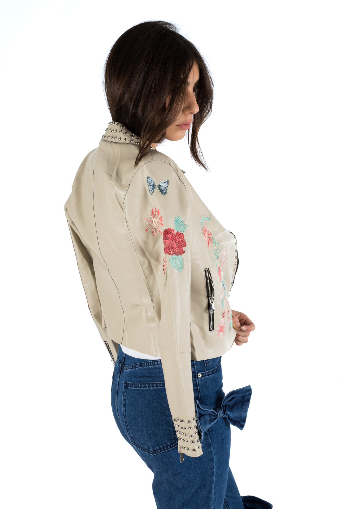Glamorous - Faux leather embroidered jacket with studs