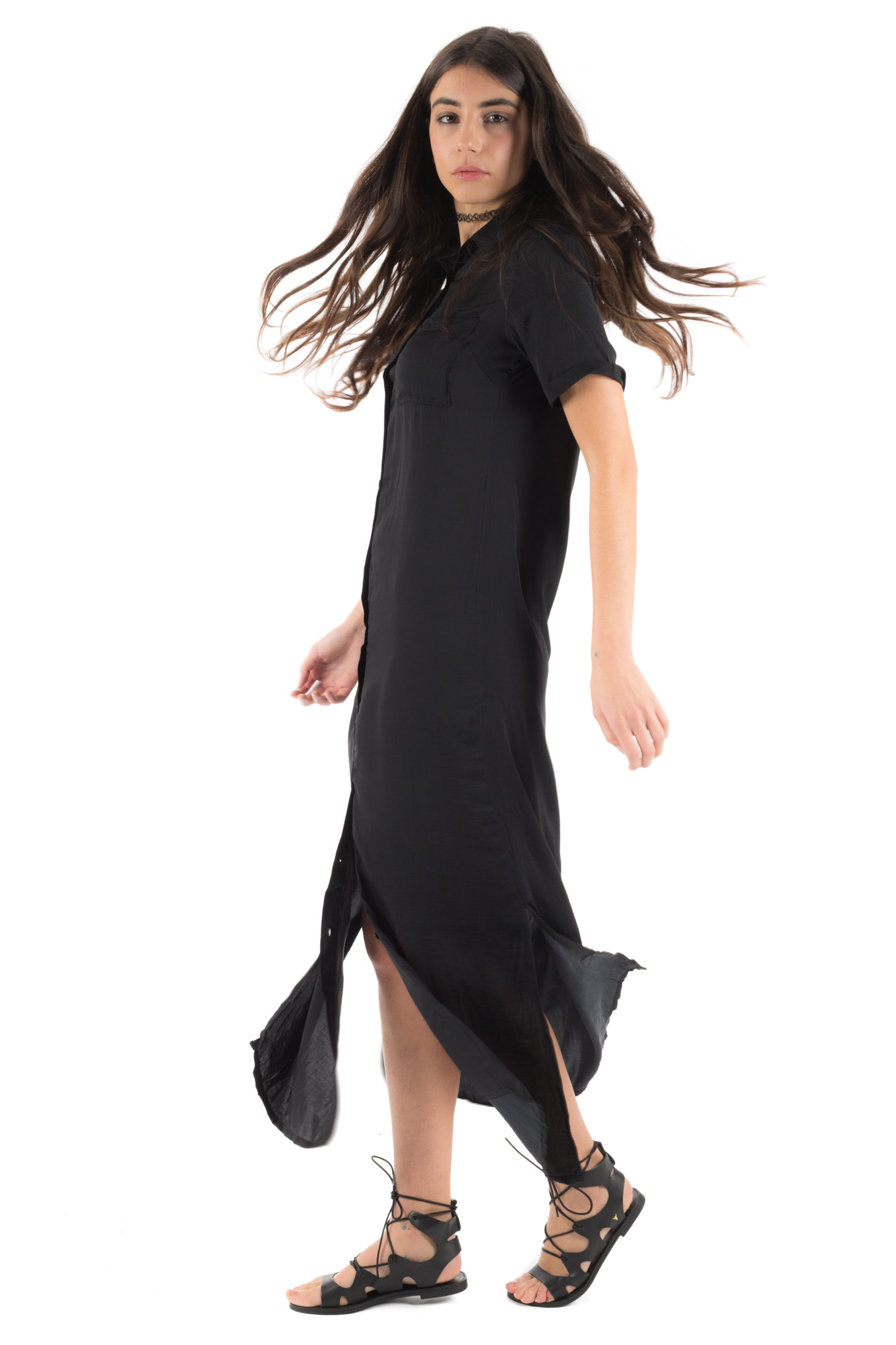 Glamorous - Long black dress with front buttons