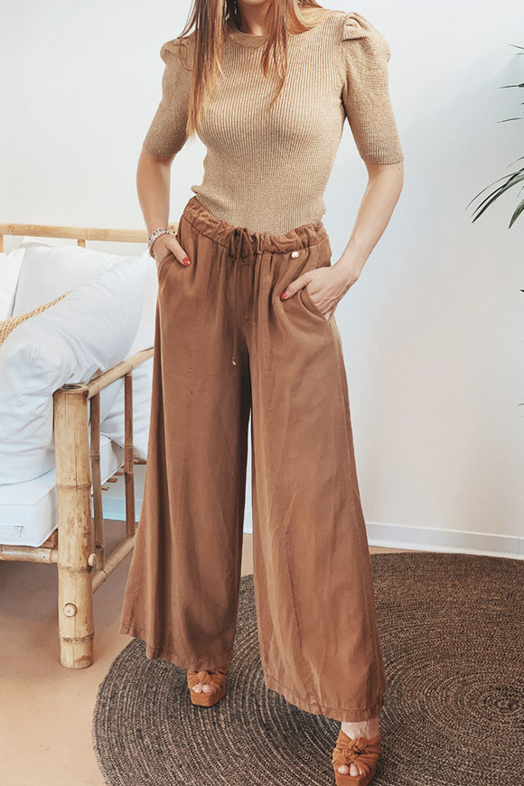 Motel - Wide trousers in brown denim