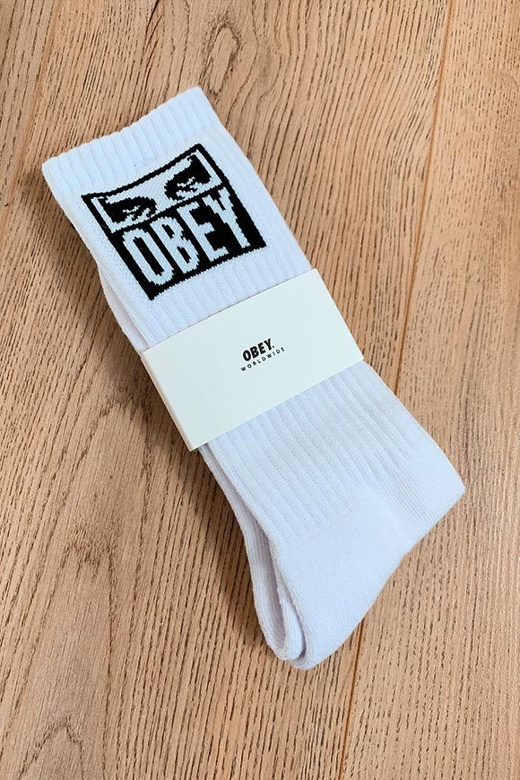 Obey - White terry socks with Eyes logo