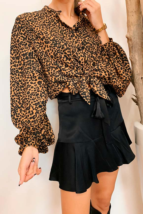 Vicolo - Leopard shirt with bow