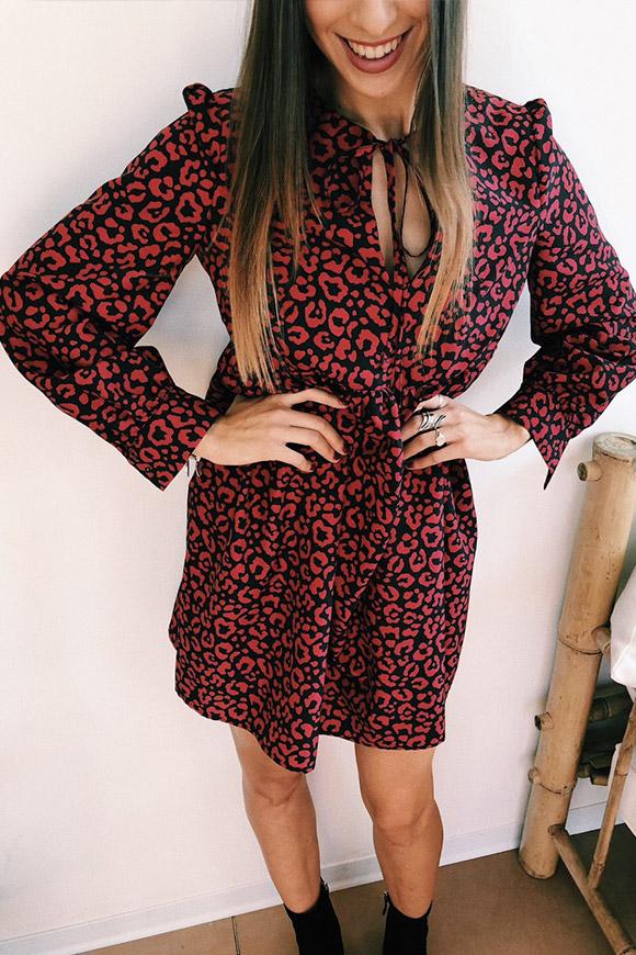 Vicolo Vestito leopardato rosso e nero - Calibro Shop f39277fb93e
