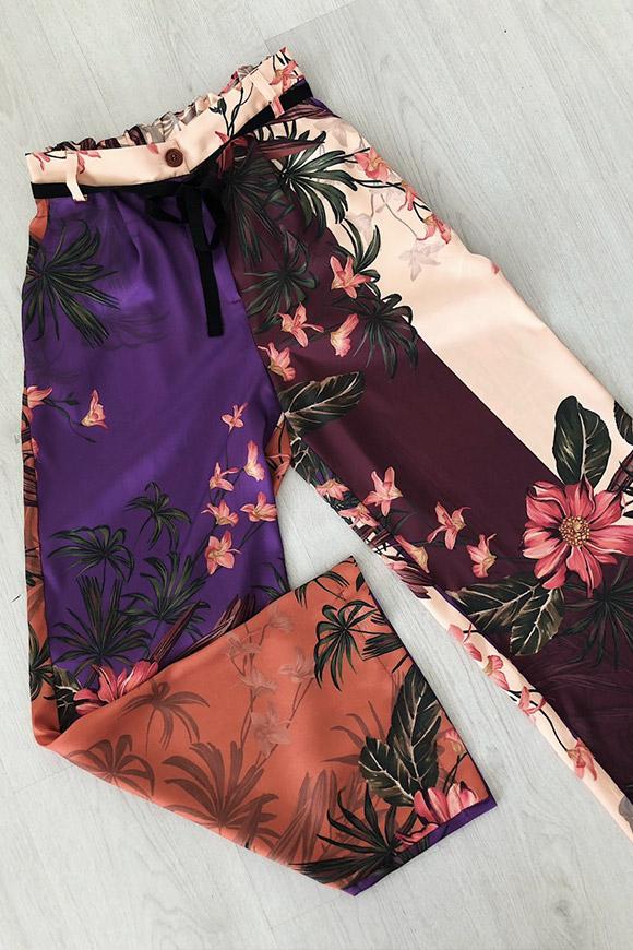 in vendita feb03 544ee Pantaloni a palazzo floreali effetto seta