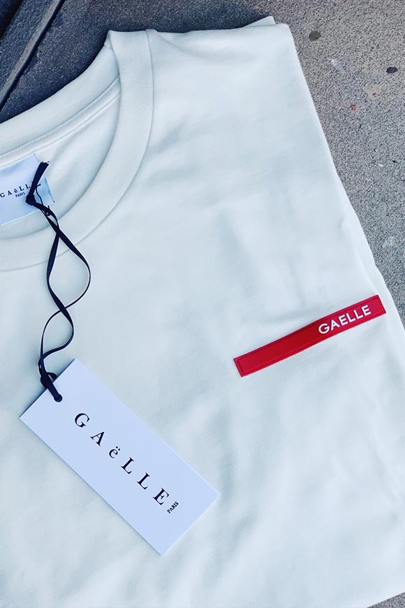 Gaelle - White milk t shirt with Prada style logo