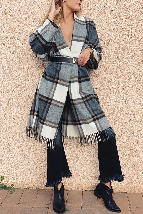 Vicolo - Black and white plaid poncho coat with fringe
