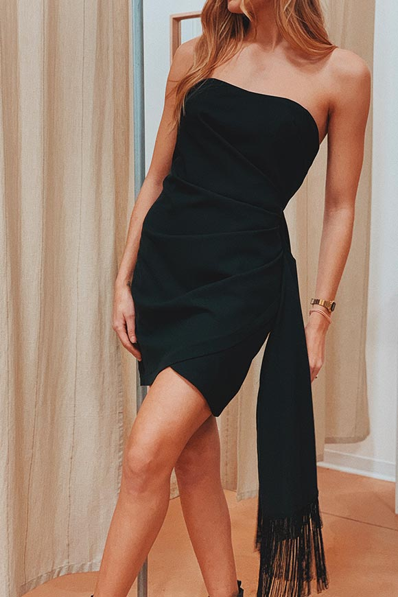 Vicolo - Black dress with fringe flap