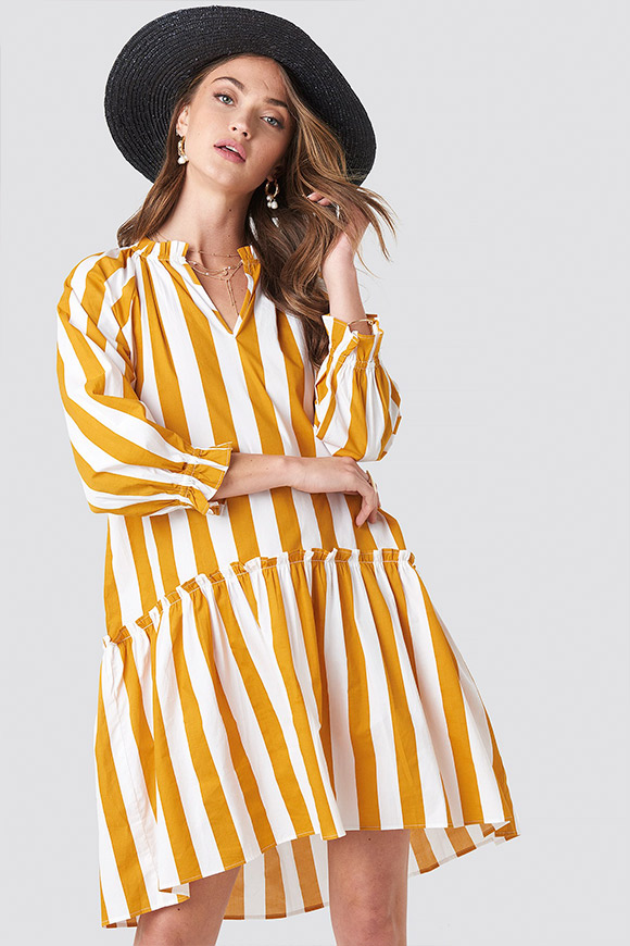 NA-KD - Dress wide striped shirt white and mustard