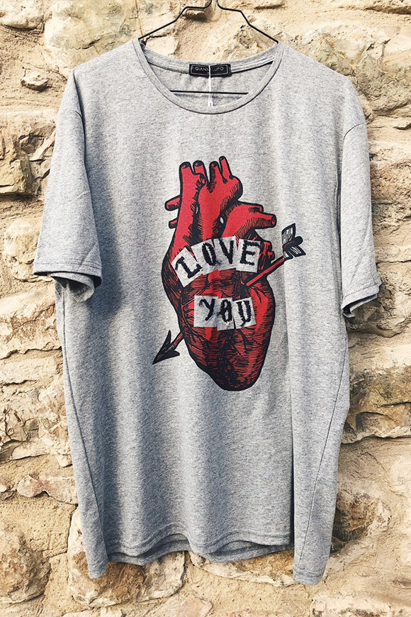 Gianni Lupo - Gray t shirt with heart