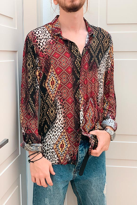Berna - Burgundy and mustard floral patterned shirt