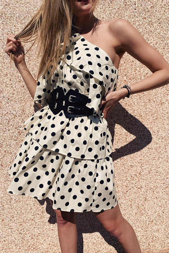 Vicolo - One shoulder black and white polka dot dress with flounces