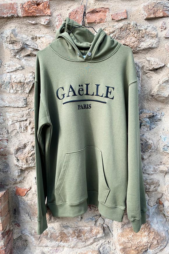 Gaelle - Military green hooded sweatshirt with black logo