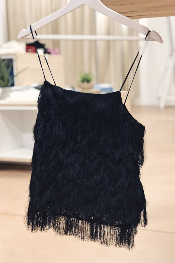 Vicolo - Black top with fringes
