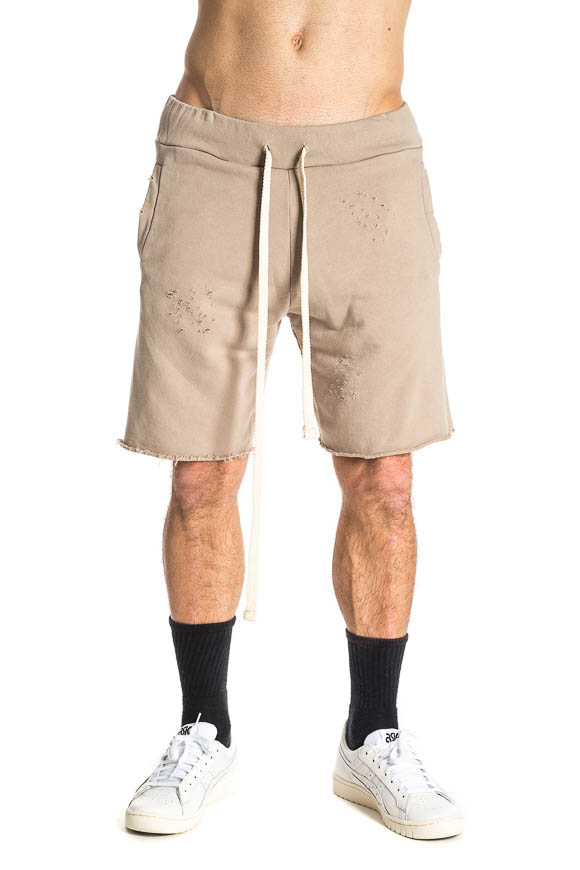 Family First - Beige shorts with rips and drawstring