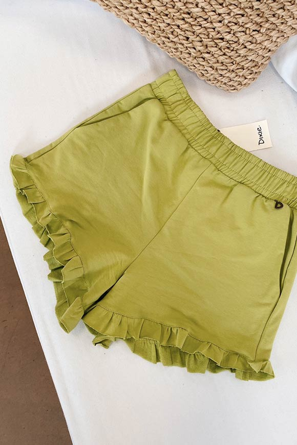 Dixie - Pistachio fleece shorts with rouches