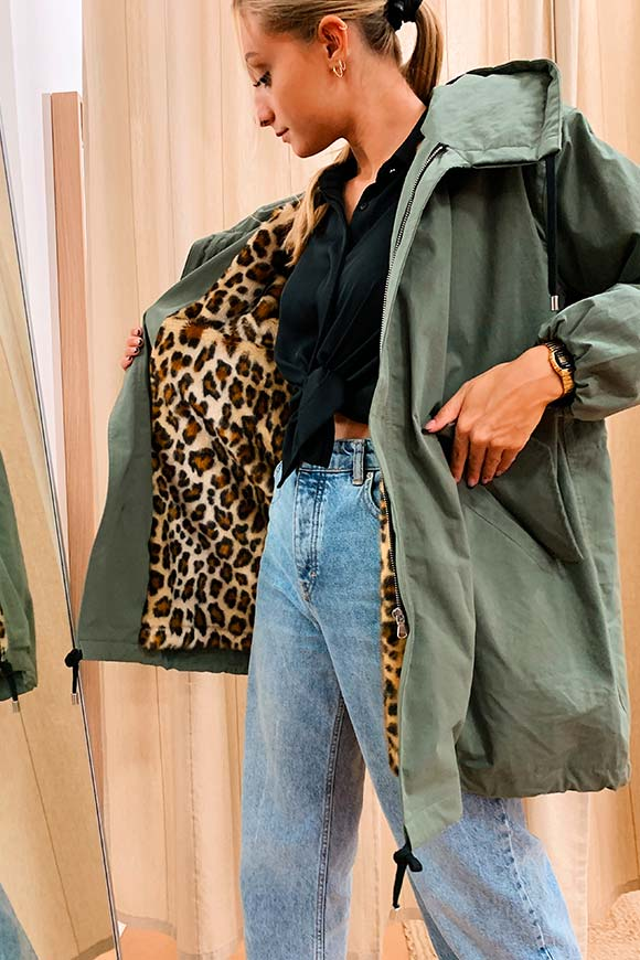 Aniye By - Beky green parka with leopard-print interior