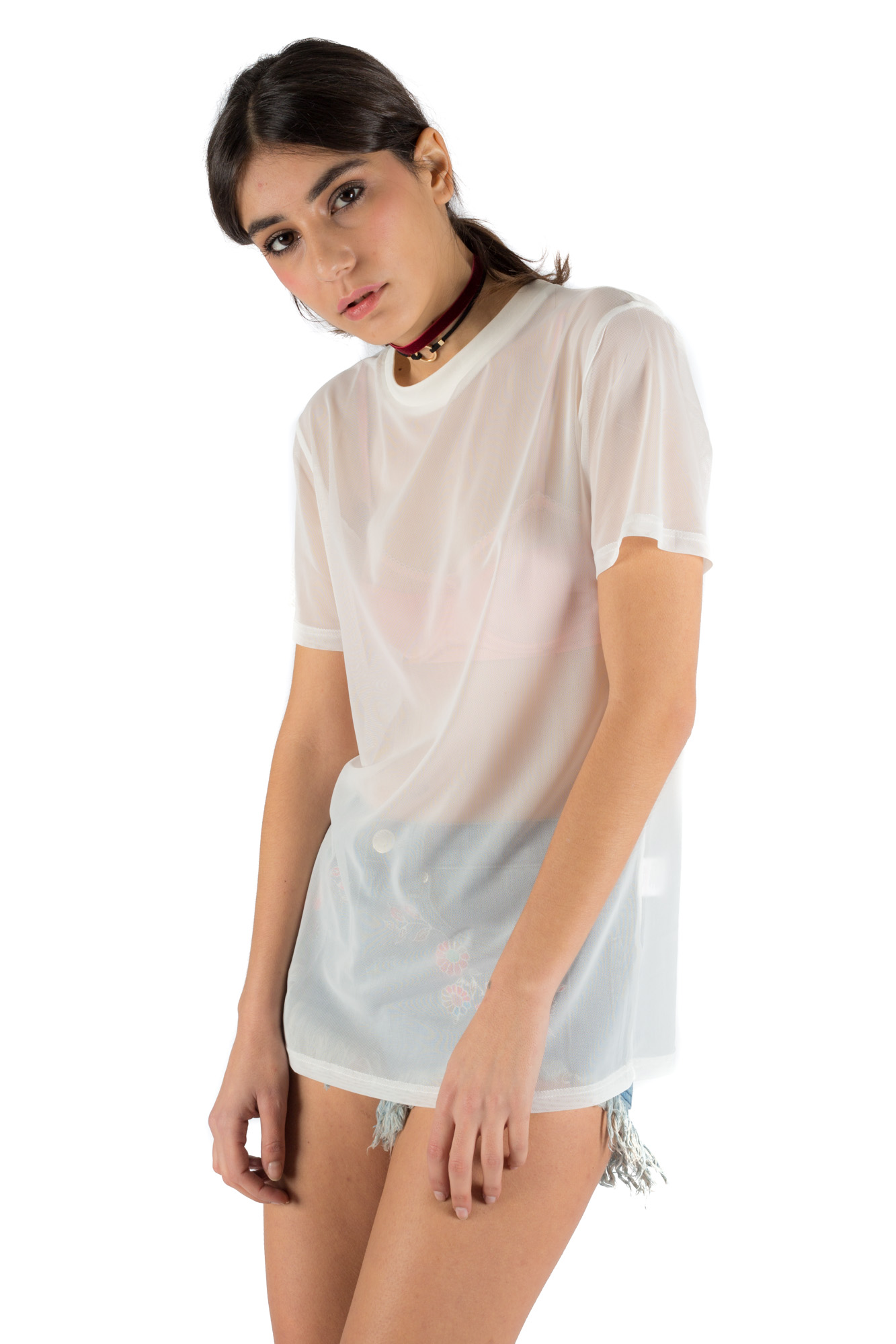 Glamorous - T-shirt in see-through fabric