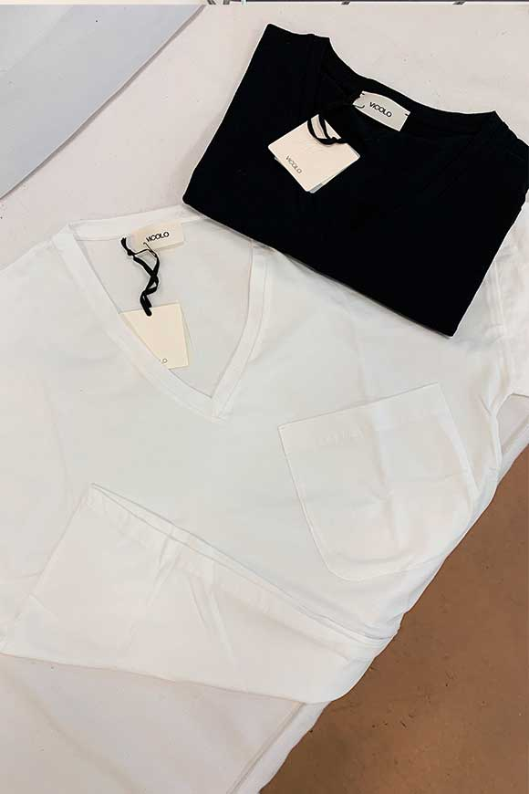 Vicolo - Basic white t shirt with pocket