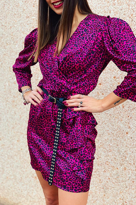 Kontatto - Fuchsia-effect leopard print dress