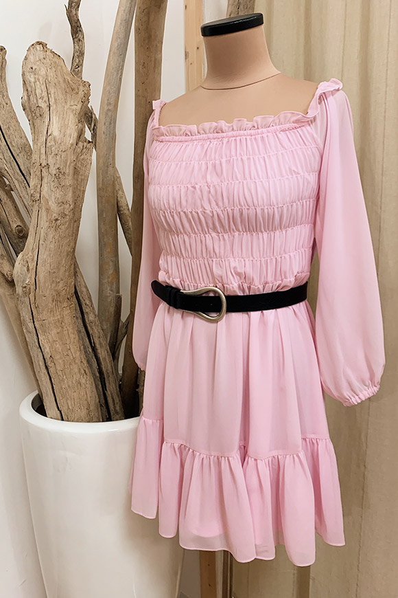 Glamorous - Pink chiffon dress with flounce