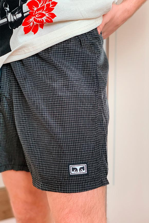Obey - Black shorts grid Nore