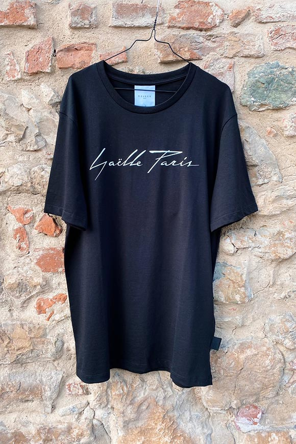 Gaelle - Black t-shirt with white italic logo