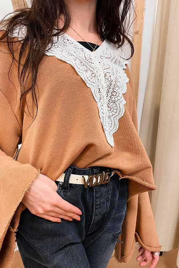 Tensione In - Camel sweater with lace edge and flared sleeves
