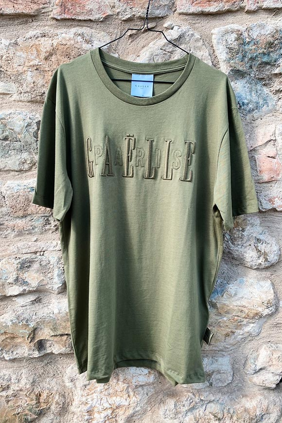 Gaelle - Military green T shirt with embossed logo