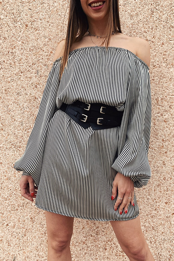 Motel - Soft striped dress with bardot neckline