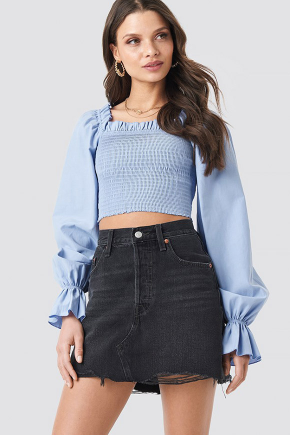 NA-KD - Blue embossed shirt top