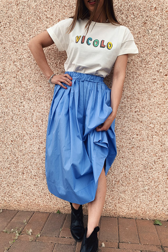 Vicolo - Light blue cotton midi skirt