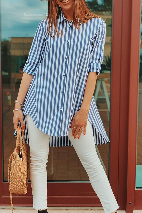 Vicolo - White and blue flared striped shirt