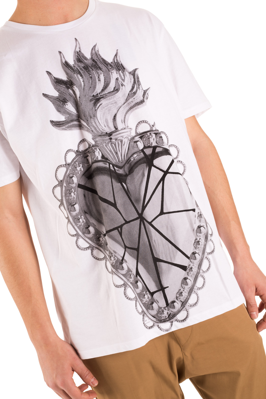 No Perfect - T-shirt oversize cuore sacro bianca
