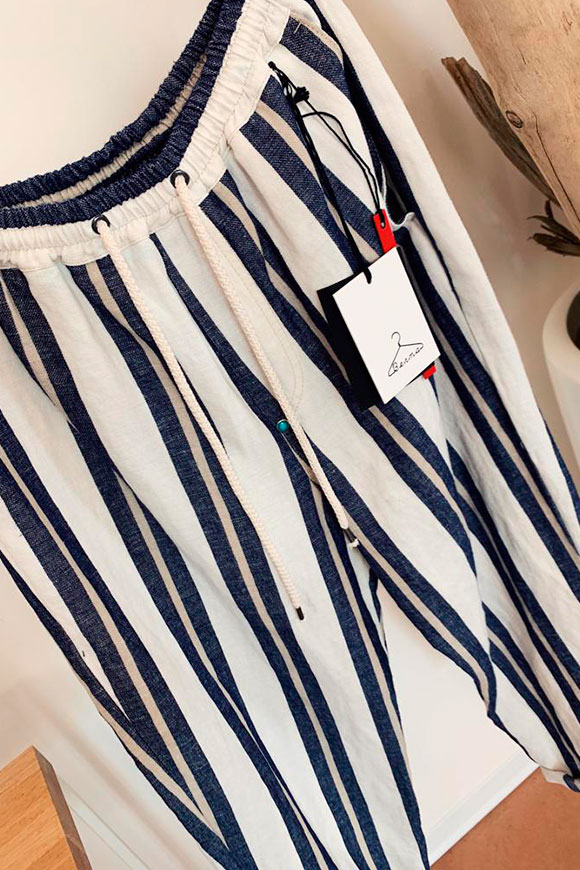 Berna - Blue and white striped trousers