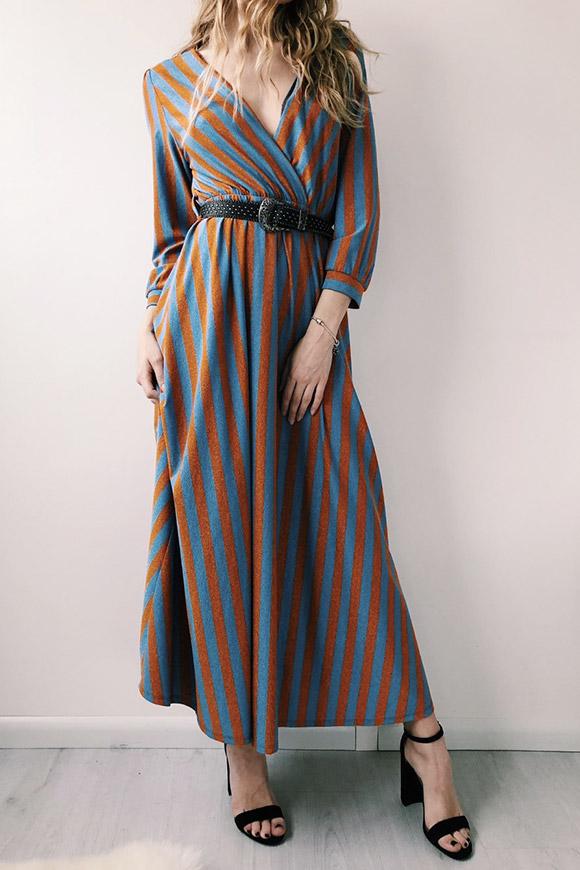 huge selection of 3ffa9 65897 Vestito in lurex a righe arancio e blu