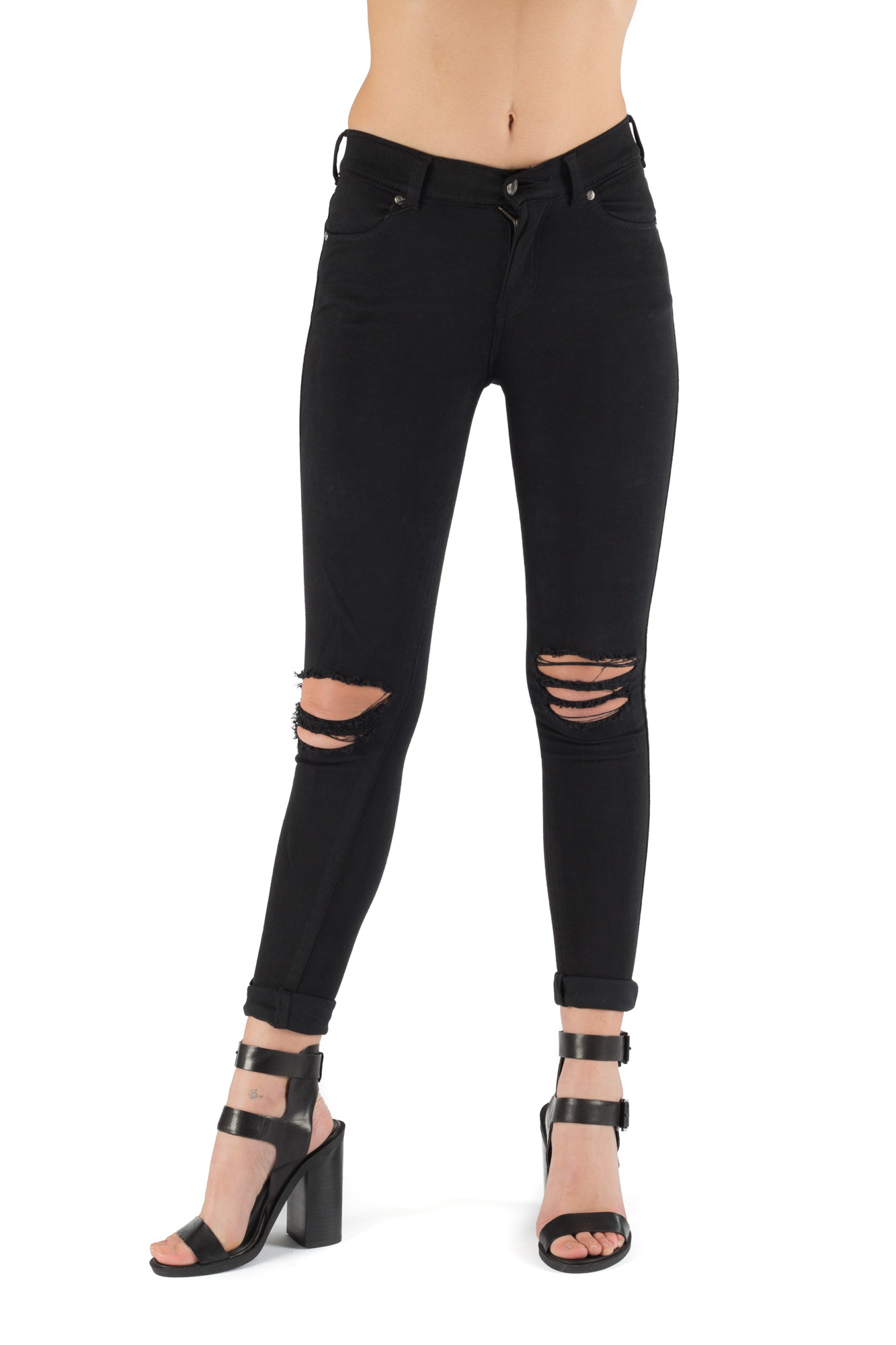 Dr. Denim - High waist skinny jeans with ripped knees