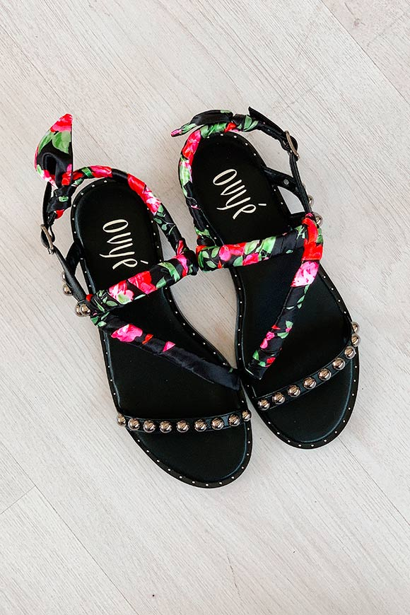 Ovyé - Sandals with floral scarves and studs
