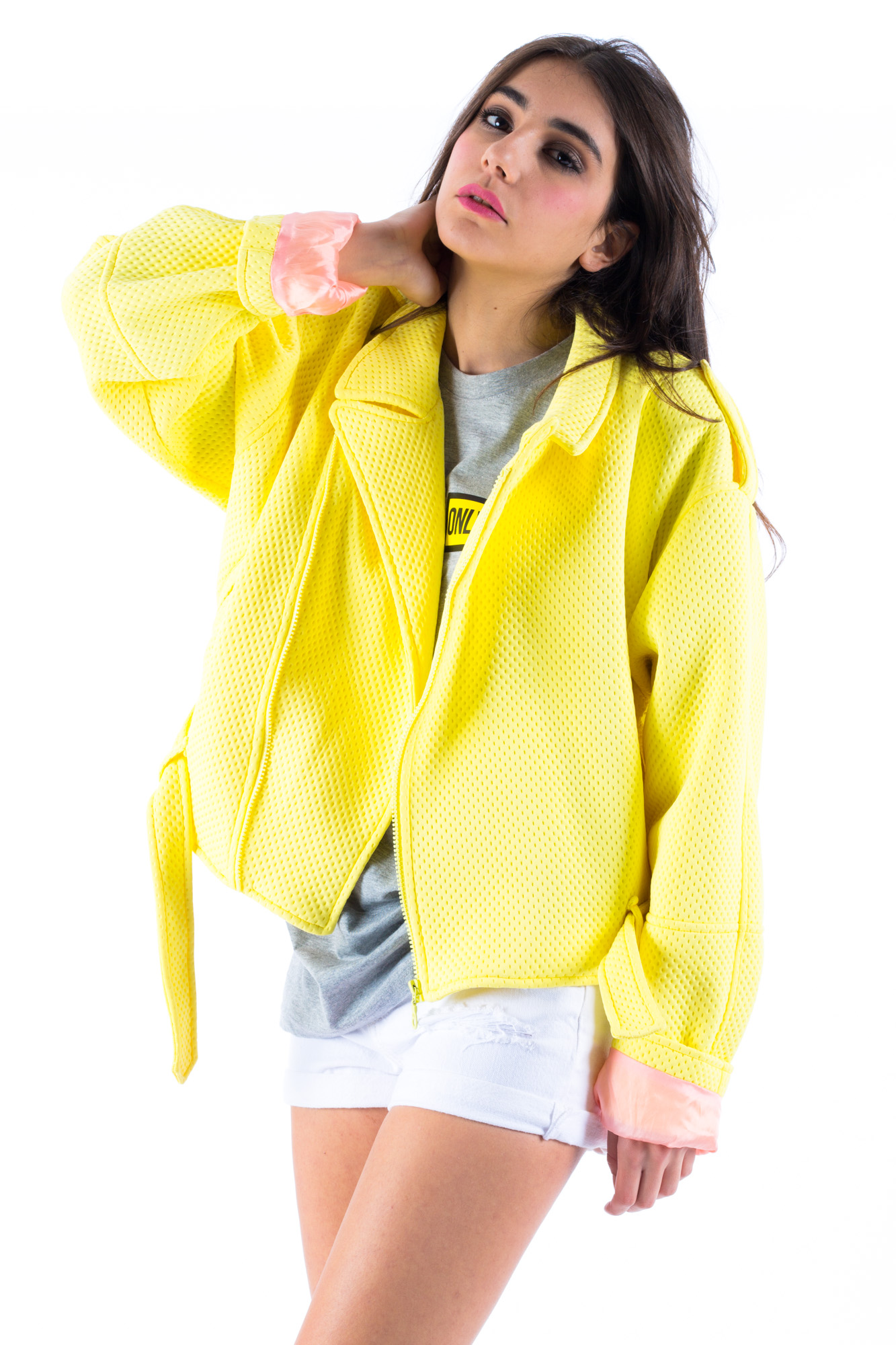 White - Yellow Terry Cloth Jacket