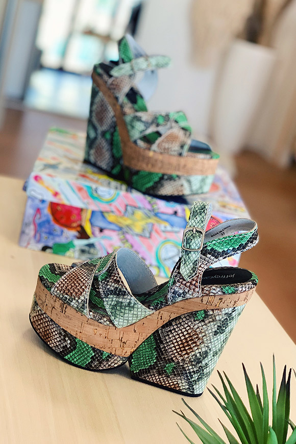 Jeffrey Campbell - Paloma green pythonate wedges with wood