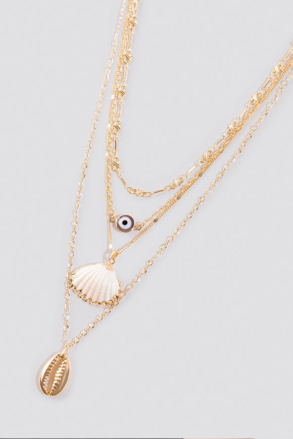 NA-KD - Multiwire gold necklace with shells