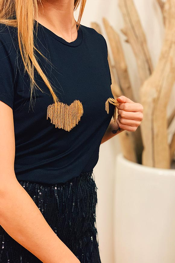 Kontatto - T shirt with gold chain hearts