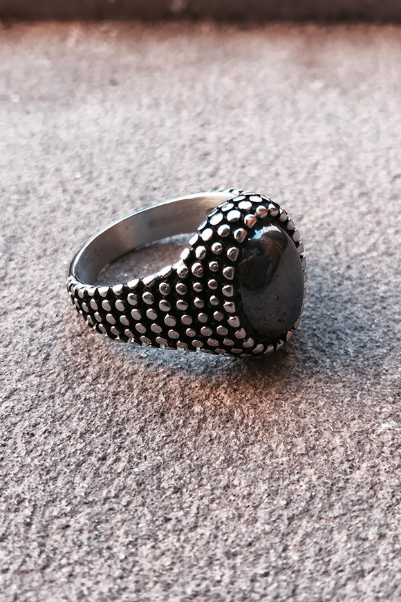 Calibro Shop - Granulated grey stone ring