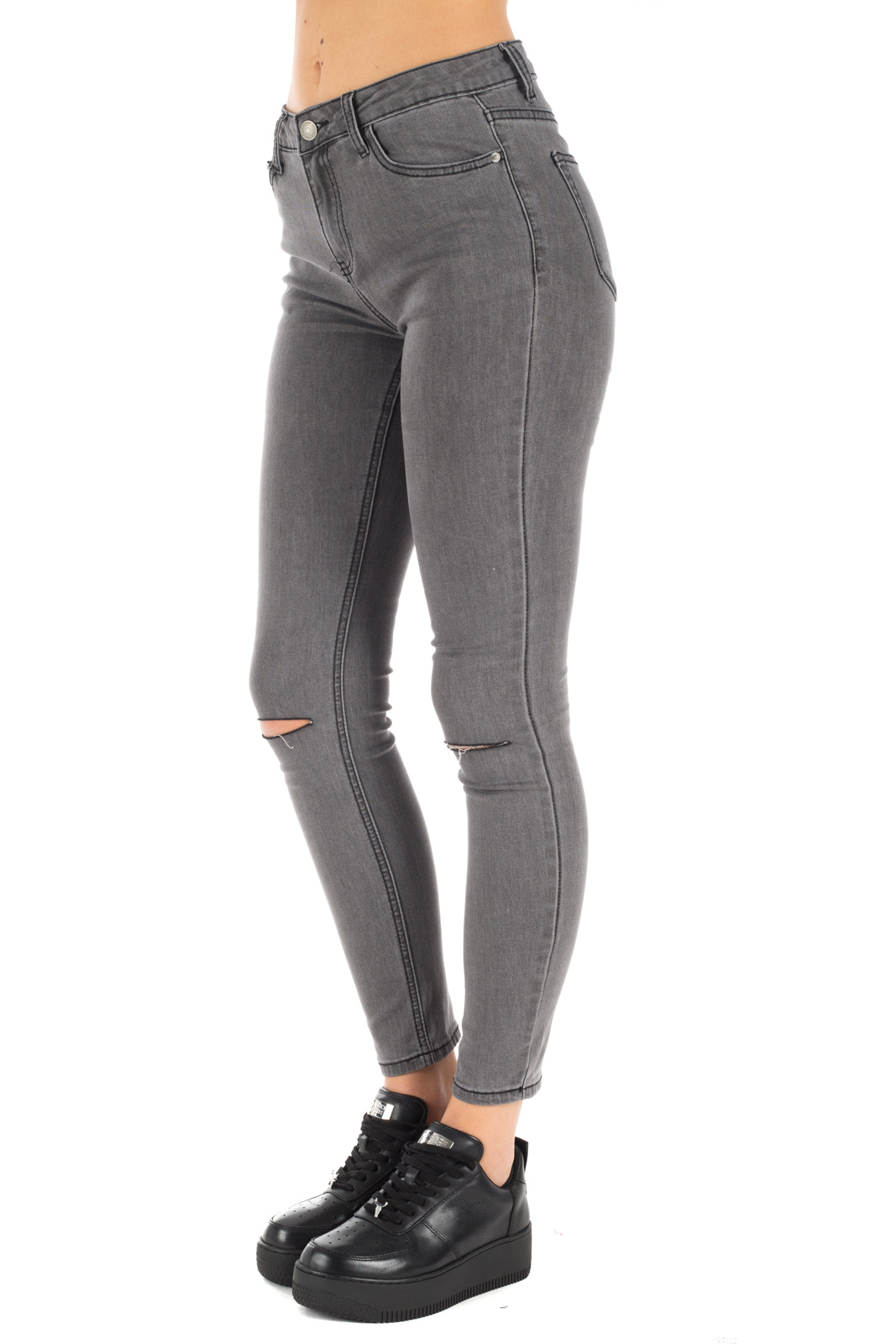 Glamorous - Gray jeans with knee cuts