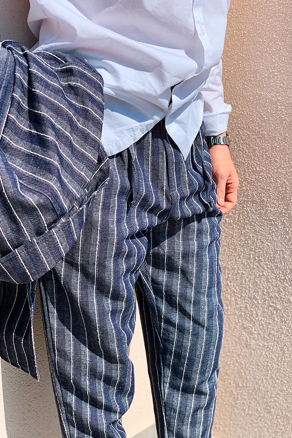 Gianni Lupo - Blue striped linen trousers
